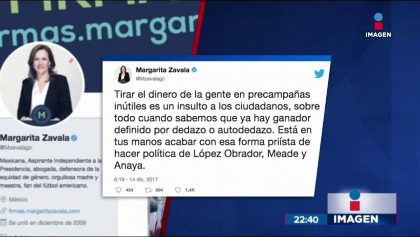 Margarita Zavala se quejó por las precampañas