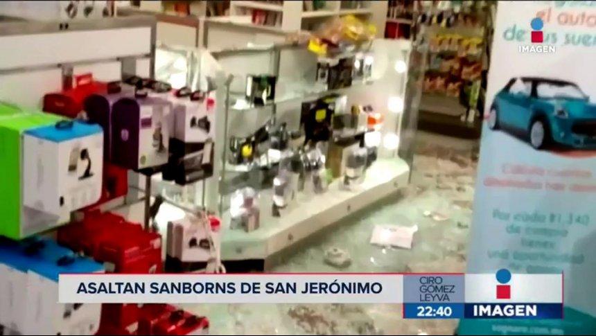 Sujetos armados con mazos asaltan Sanborns de San Jerónimo