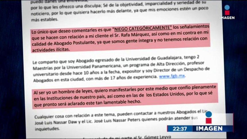 Representante legal de Rafa Márquez investigado por lavado