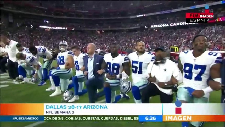 Así protestaron los Vaqueros de la NFL contra Trump
