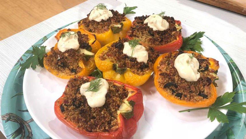 Cocina Vegana: pimientos rellenos con mayonesa de albahaca
