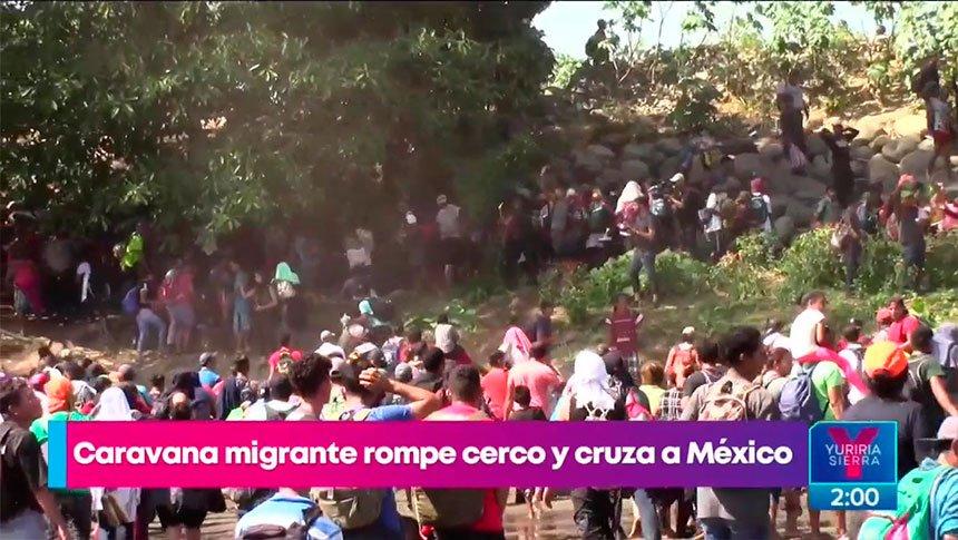 Migrantes se enfrentan contra la Guardia Nacional en Chiapas
