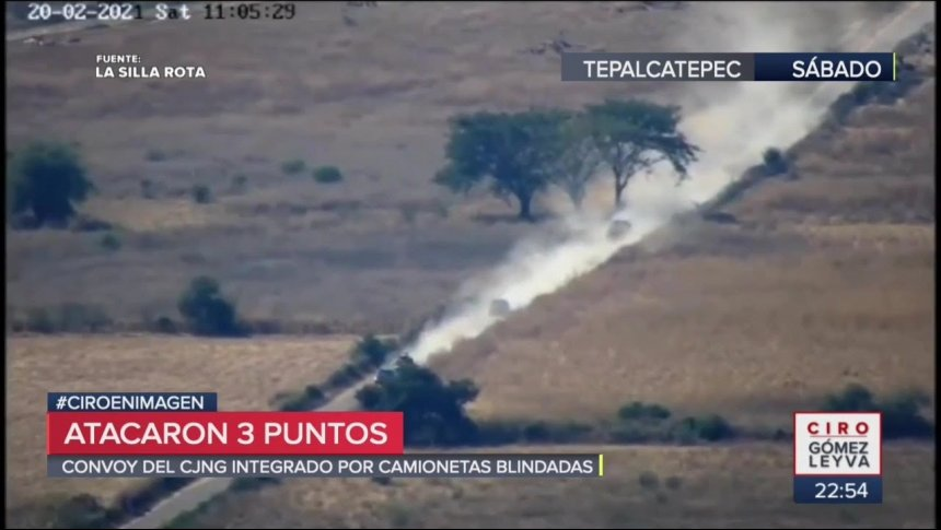 """Dron graba ataque del CJNG con """"monstruos"""" en Michoacán"""