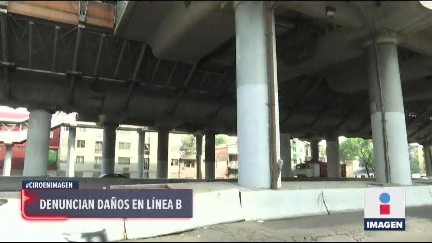 Se cae cemento de estación en Línea B y no lo reparan